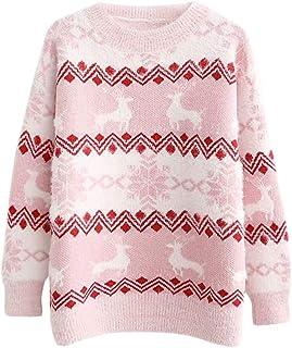 DEBAIJIA Suéter de Mujer Jersey de Niña Señora Punto Grueso Invierno Cachemira Manga Larga Navidad Cuello Redondo Punto Ca...