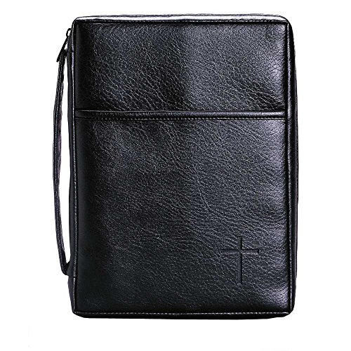 Soft Black Embossed Cross with Front Pocket Leather Look Bible Cover with Handle, X-Large