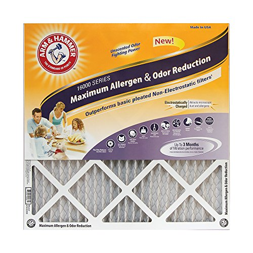 Arm & Hammer Max Allergen & Odor Reduction 16x25x1  Air and Furnace Filter, MERV 11, 4-Pack