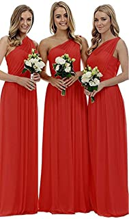 Bridesmaid Dresses for Women Long Chiffon One Shoulder Formal Aline Prom Evening Gown