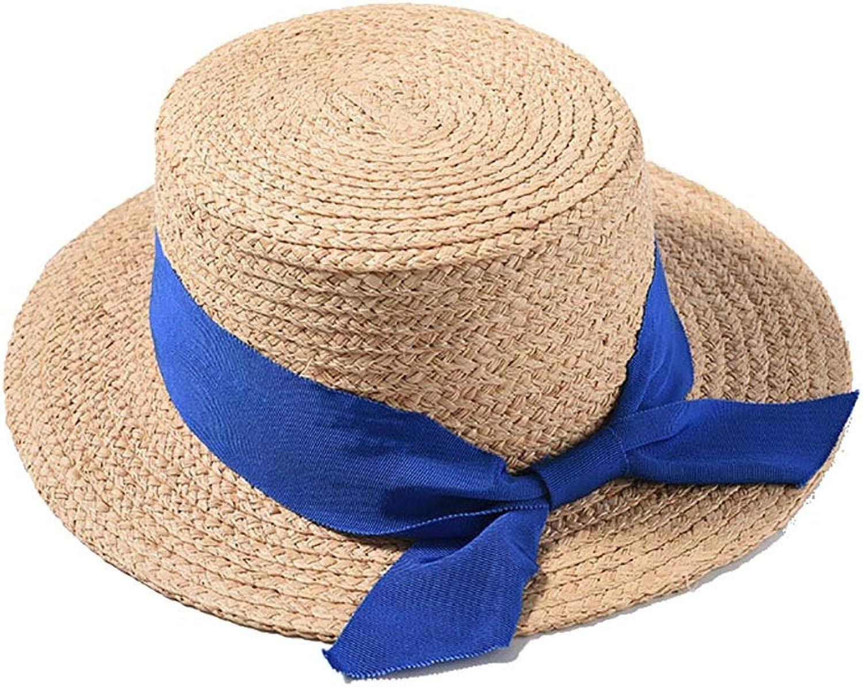 c4b4d66c Women's Lightweight Beach Sun Hat Wide Brim Straw Hat Fashionable Big  Bowknot (color bluee,