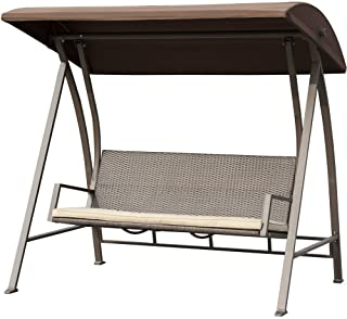 PatioPost Porch Swing Outdoor Lounge Chair Seats 3 Patio PE Wicker Glider Bench with Steel Frame and Padded Cushion, Dark Brown