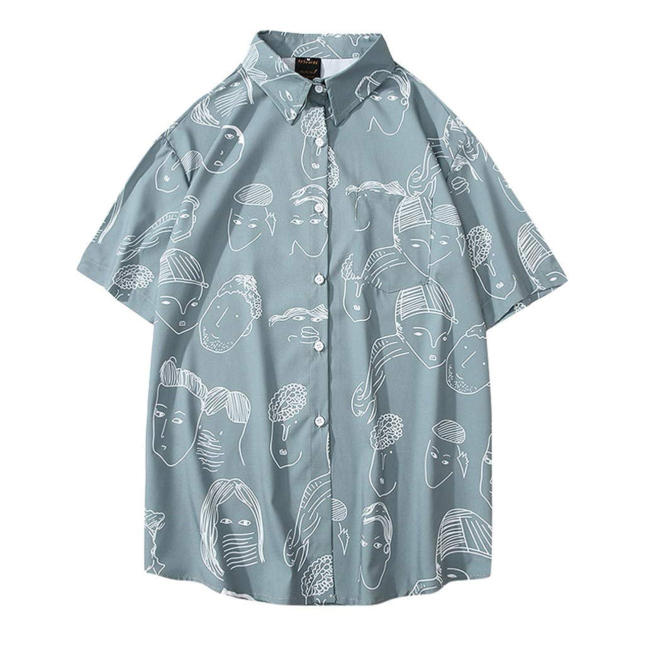 怖がらせる男らしい勇敢なAster JaKi メンズ カジュアル シャツ 春夏 半袖 ゆったり おもしろ プリント アロハシャツ 通気速乾 トップス