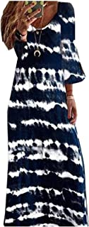 Comaba Women's Patterned Plus Size V-Neck Baggy Half Sleeve Maxi Long Dress