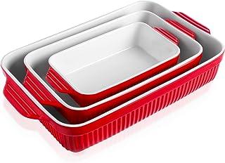 Kanwone Baking Dishes, Ceramic Bakeware Set, Rectangular Casserole Dish Set, Lasagna Pans for Cooking, Kitchen, Cake Dinne...