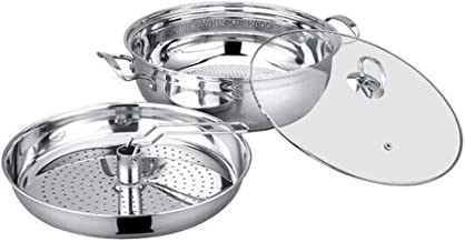 MSWL Steamer, Steamer Pot Hot Pot Steam Pot 30cm Stainless Steel Cooking Dual-purpose Induction Cooker Gas Stove Gas Stove...