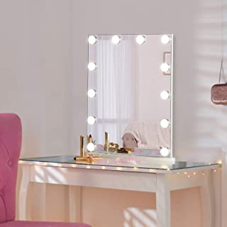 LUXFURNI Hollywood Vintage Tabletop Makeup Mirror Dimmable LED Light w/USB-Powered, Touch Control, Cold/Warm Light