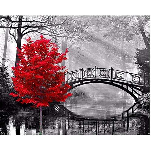 JUNYYANG Pintura de Diamante de Taladro Completo 5D Red Tree Bridge Paisaje Kits de Bricolaje para el hogar Decoración de la Pared Regalo Rhinestone Crystal Bordado Stitch, 40x50cm