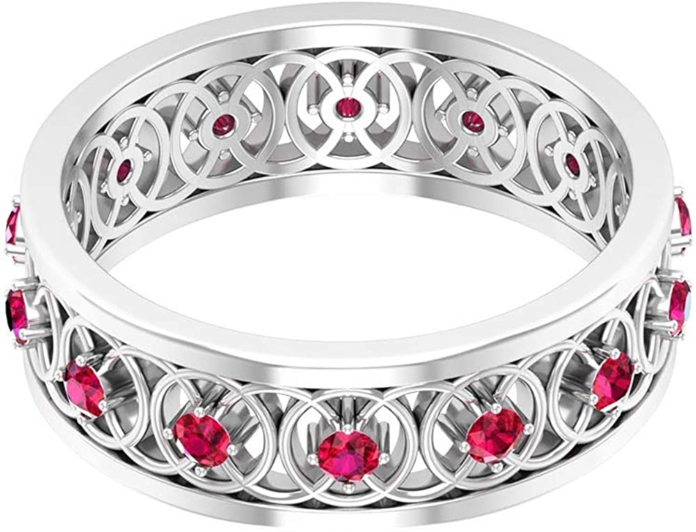 Vintage Wedding Band, Antique 0.56Ct Ruby Glass Filled Ring, Unique Eternity Ring, Bridal Statement Ring, July Birthstone Anniversary Ring, Promise Ring for Women, 14K Gold