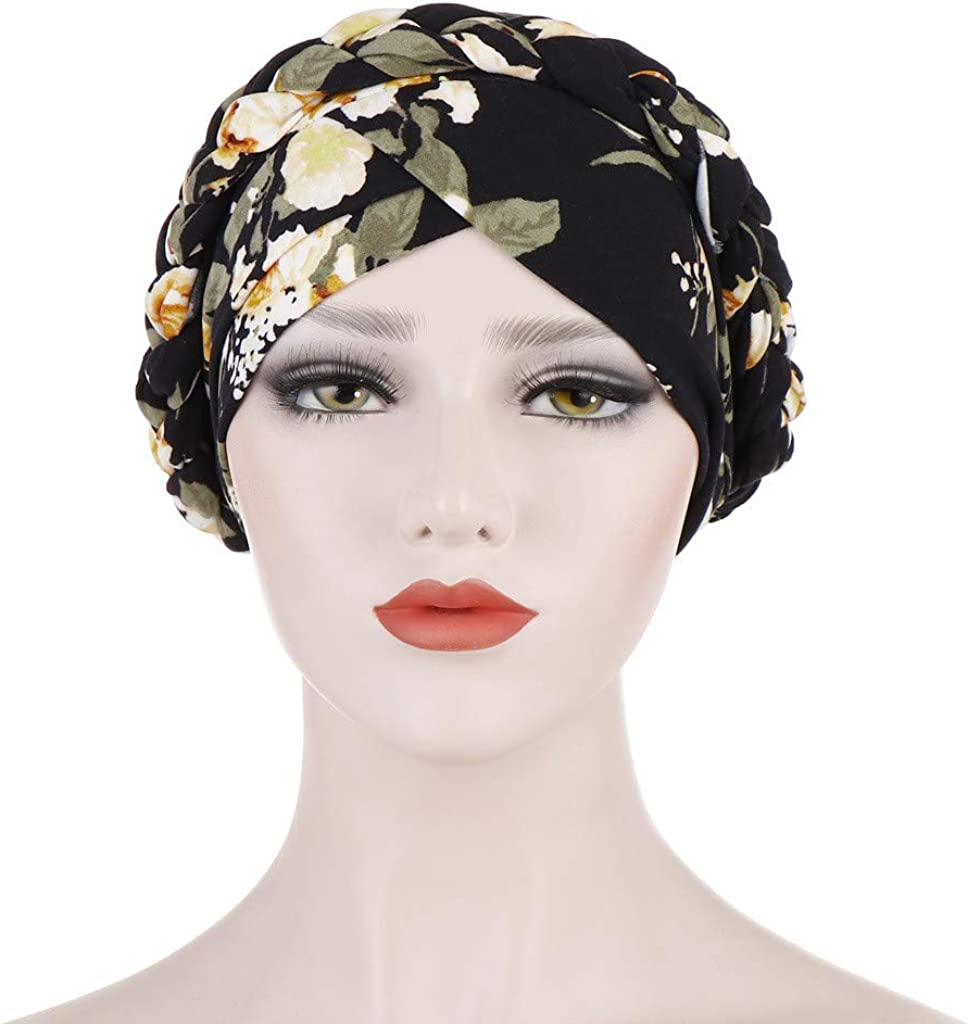 GreatestPAK Damen Einfarbig Zopf Kopf Mütze Kopftuch Hijab Druck Rüsche Turban Schwarz_18