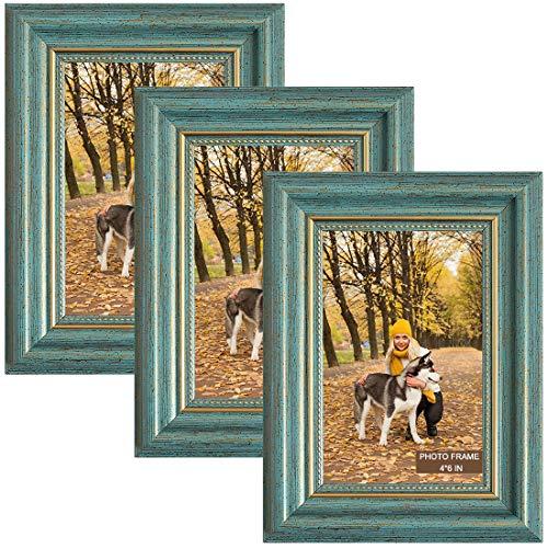 Marcos de fotos de 10 x 15 cm, 3 paquetes de marcos de fotos de madera azul vintage con vidrio real de alta definición, marcos de fotos para exhibición de mesa y decoración de pared