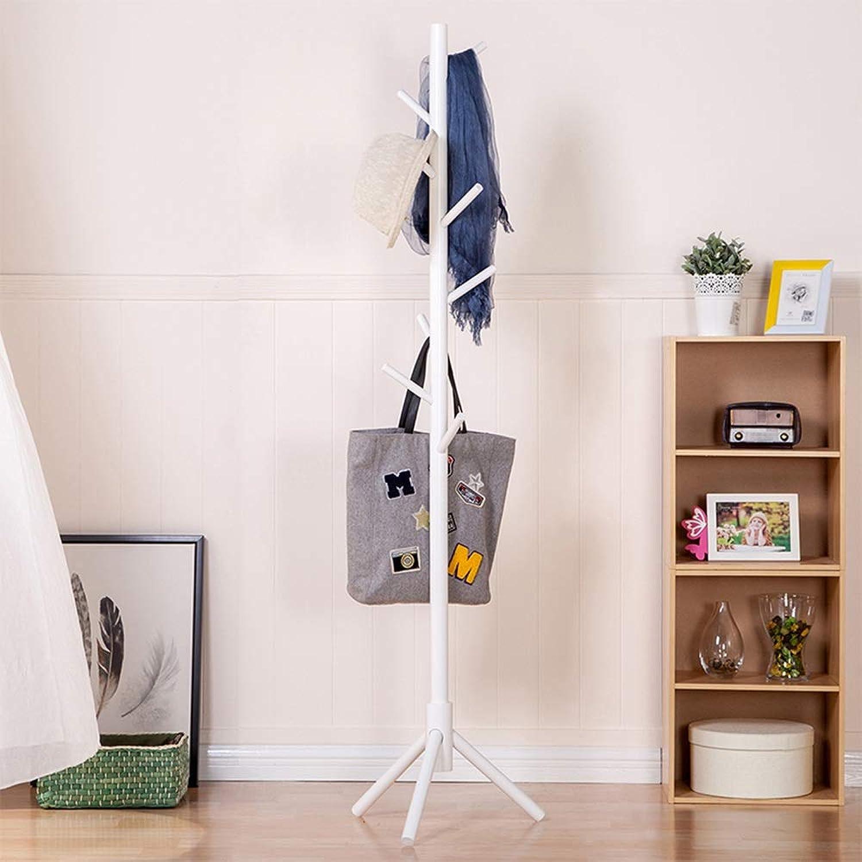 Chunlan Coat rack Solid Wood Coat Rack Landing Family Bedroom Hanger Living Room Hanger (color   Ivory White)