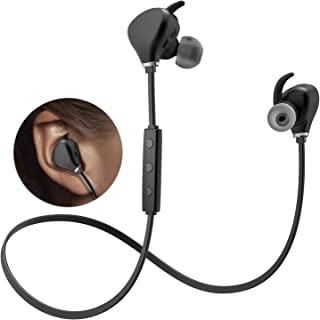 Sweatproof Sports Bluetooth Headphones KindaiYi Best Wireless in Ear Earbuds w/Mic IPX4 Waterproof Cordless Earphones Noise Cancelling Headsets for Gym Workout 10 Hours Play Time (Bright Black)