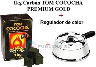 [PACK] 1kg CARBÓN para cachimba TOM COCOCHA PREMIUM GOLD+ Regulador de Carbón premium