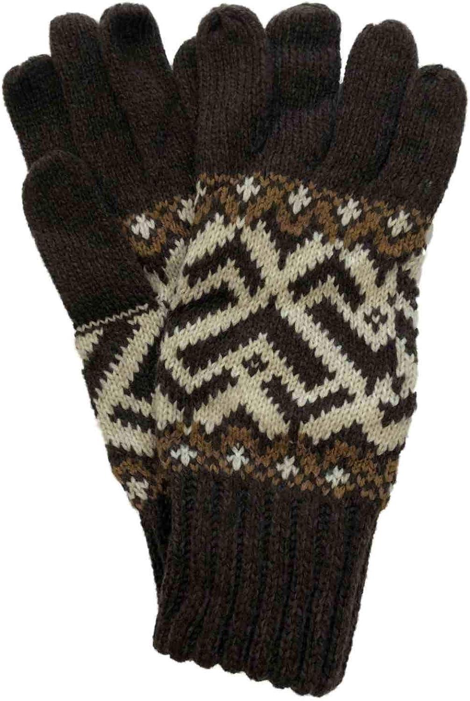 Womens Soft Brown & Tan Geometric Print Knit Winter Gloves