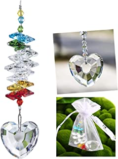 Fdit Crystal Hanging Pendant Purple Octagon Beads Handmade DIY Gancio Lampadario Decor Window Ornament