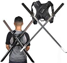 Ace Martial Arts Supply Leonardo Dual Ninja Swords with Back Carrying Scabbard
