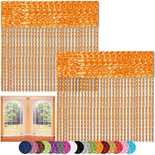Bestlivings Fadenvorhang 2er Pack Gardine Raumteiler, Auswahl: 90x240 orange - Marigold