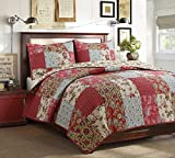 Cozy Line Home Fashions Adeline Red Teal Khaki Floral Pint Pattern...