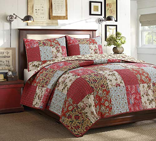 Cozy Line Home Fashions Adeline Red Teal Khaki Floral Pint Pattern Real Patchwork 100% Cotton Reversible Coverlet Bedspread Quilt Bedding Set for Women (Red Aqua, Queen - 3 Piece)
