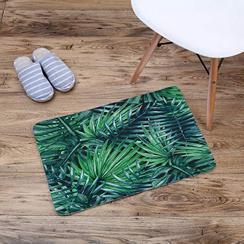GjbCDWGLA Tropische plant donkergroene bladeren mode antislip badmat wasbare badkamerbadmat zachte waterabsorberende badmatten 40 * 60