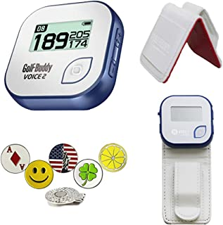 GolfBuddy Voice 2 Golf GPS/Rangefinder Bundle with Belt Clip, 5 Ball Markers and 1 Hat Magnetic Clip