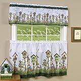 Achim Home Sweet Home Birdhouse Kitchen Curtain 36' Tier Pair & 13' Valance Set