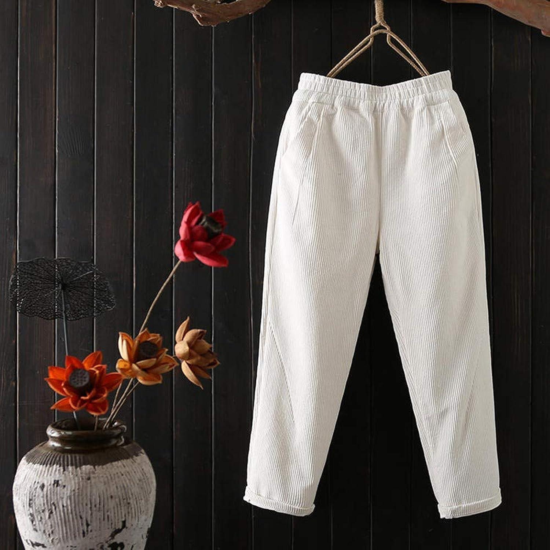 GBUIA Women Pants Autumn Winter Pants Women Plus Size 3XL Elastic Waist Harem Pants Casual Trousers Women