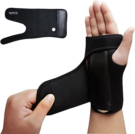 Advanced Hand Wrist Support Palm Brace, Wonepo Black Carpal Tunnel Splint Stablizer Protector for Immediate Pain Relief from Wrist Pain, Sprains, RSI and Arthritis
