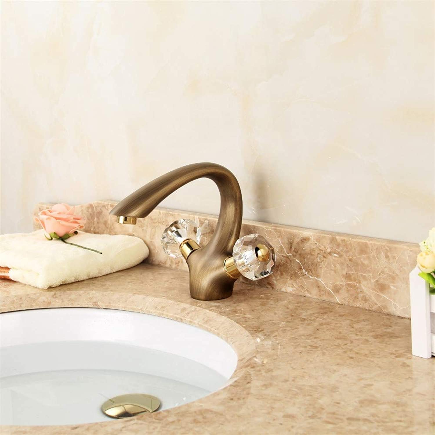 XPYFaucet Faucet Tap Taps European style brushed copper basin single hole double handle hot and cold water retro