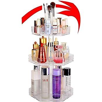 YAH Moda 360 grados rotativo Organizador de maquillaje Herramienta transparente caja de cepillo de la joyería Organizador de la joyería maquillaje limpiar herramienta caso joyería maquillaje caja de almacenamiento cosmético