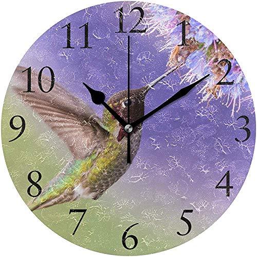 Hummingbird Fleurs Pourpres Horloge Murale Silencieux Horloge Murale Ronde Fonctionne sur Batterie Non Tichant Creative Horloge Décorative