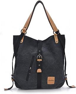 Gindoly Stilvolle Damen Canvas Handtasche Rucksack Umhängetasche 3 in 1 Große Multifunktionale Tasche für Arbeit Schule AlltagSchwarz