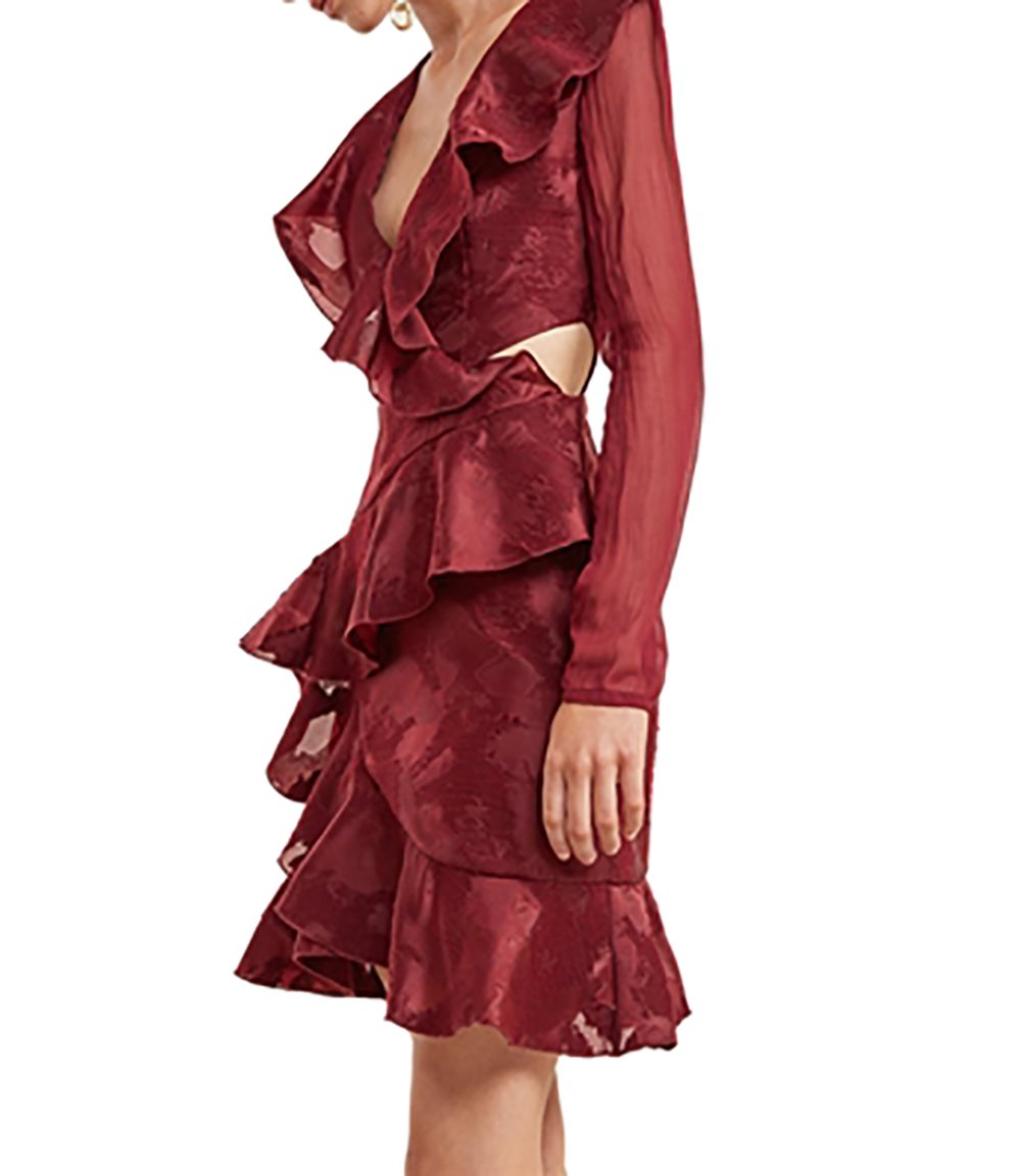 Available at Amazon: C/Meo Collective Ember Long Sleeve Dress in Ruby