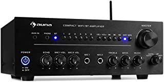 auna Intelligence Amp Amplificador estéreo • 2 x 40 W • WiFi y Bluetooth • Control por aplicación • Función multisala • Spotify, TuneIn, Tidal, Napster, iHeartRadio y más • 2 entradas AUX • Negro