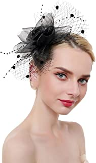 Zoestar Tea Party Fascinators Flower Mesh Hair Clip and Headband Fascinator Top Hatfor Women (Black)
