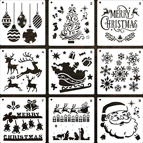 LLGLEU 9 Stück 20x20cm Weihnachten Schablonen-Set, Kunststoff Zeichenschablonen Plastik Vorlage Geschenkkarten DIY Kartenbasteln Bullet Journal Wand Dekor