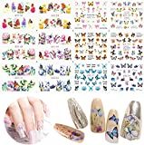 JMEOWIO 12 Sheet Design Butterfly Nail Art Stickers Series Nail Art Stickers for Girls Kids Water Transfer Nails Supply Decals Beauty Decorations Manicure Wraps DIY Nail Art