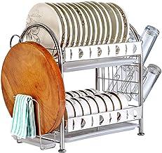 Tableware Storage, Drain Rack/Dish Rack Utensil Holder Large Kitchen 2 Tier Dish Drainer for Plates Cups Chopping Block