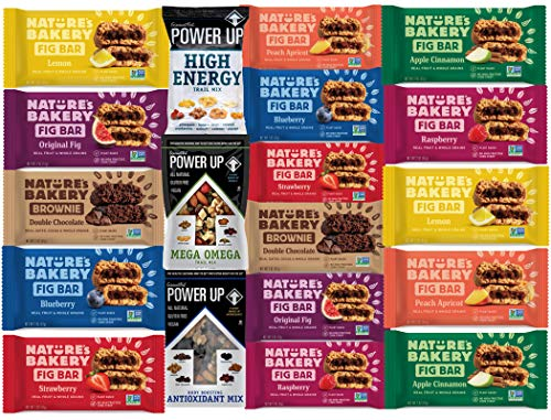 Ultimate Healthy Sampler Variety Bars & Power up Nuts ( 19 Count) All Natural NON GMO Snack Food come in Elegant LA Signature Gift Box