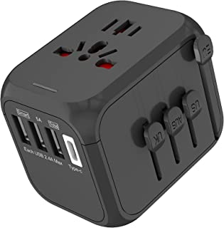Arabest Adapter Plug Type-c Multi Socket for Overseas Travel Us Uk Eu Au Wall Electric Plugs Sockets Converter (Black)