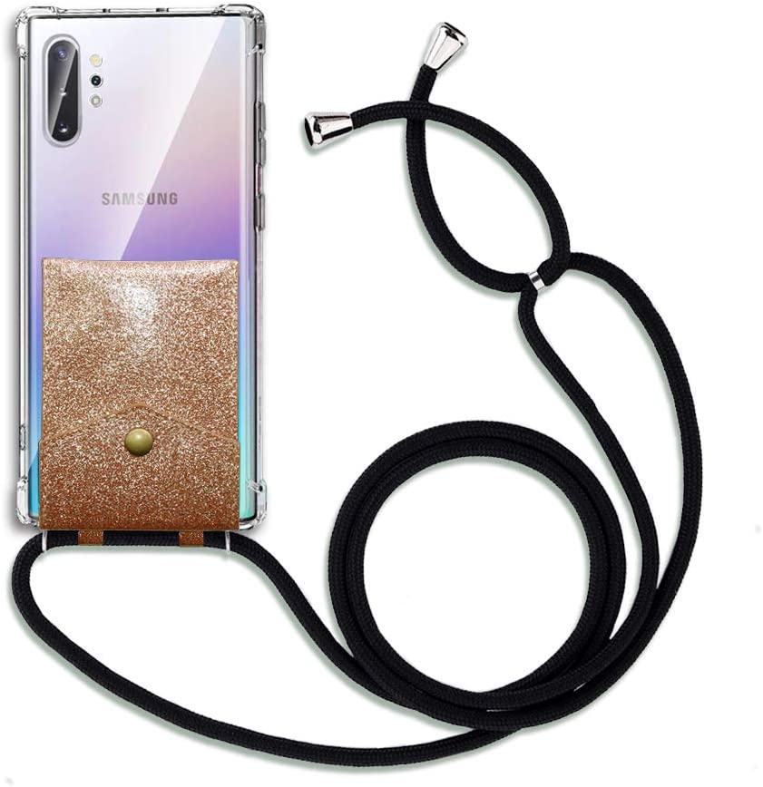 Galaxy Note 10 Plus 5G Case,FANSONG Phone Cover with Leather Card Pocket Transparent Corner Bumper Protection Soft TPU with Sling Crossbody Carrying Neck Strap for Samsung Galaxy Note 10 Plus