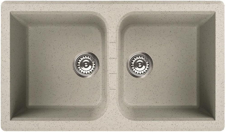 Waschbecken Granit Spüle 2 Becken   Serie VENICE 450   italienische Qualittsmarke ELLECI   Einbeckenspüle passend für Unterschrnke ab 80 cm Breite   Material GRANITEK   Farbe BIANCO TITANO   HELL TITAN GRAU   MADE IN ITALY