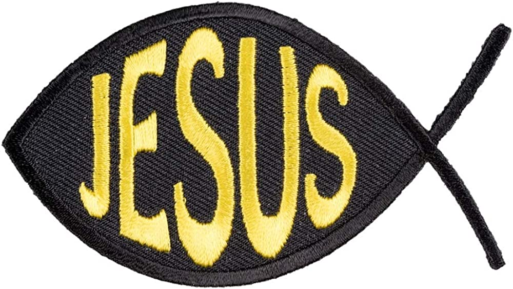 Jesus Fish Black Deluxe Max 56% OFF Yellow Patches Patch Christian