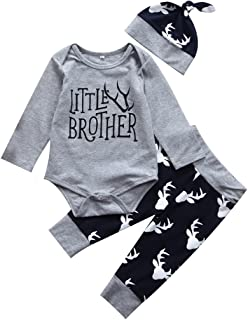 3PCS Newborn Baby Boys Cute Little Brother Romper+Pants+Hat Outfits Matching Set
