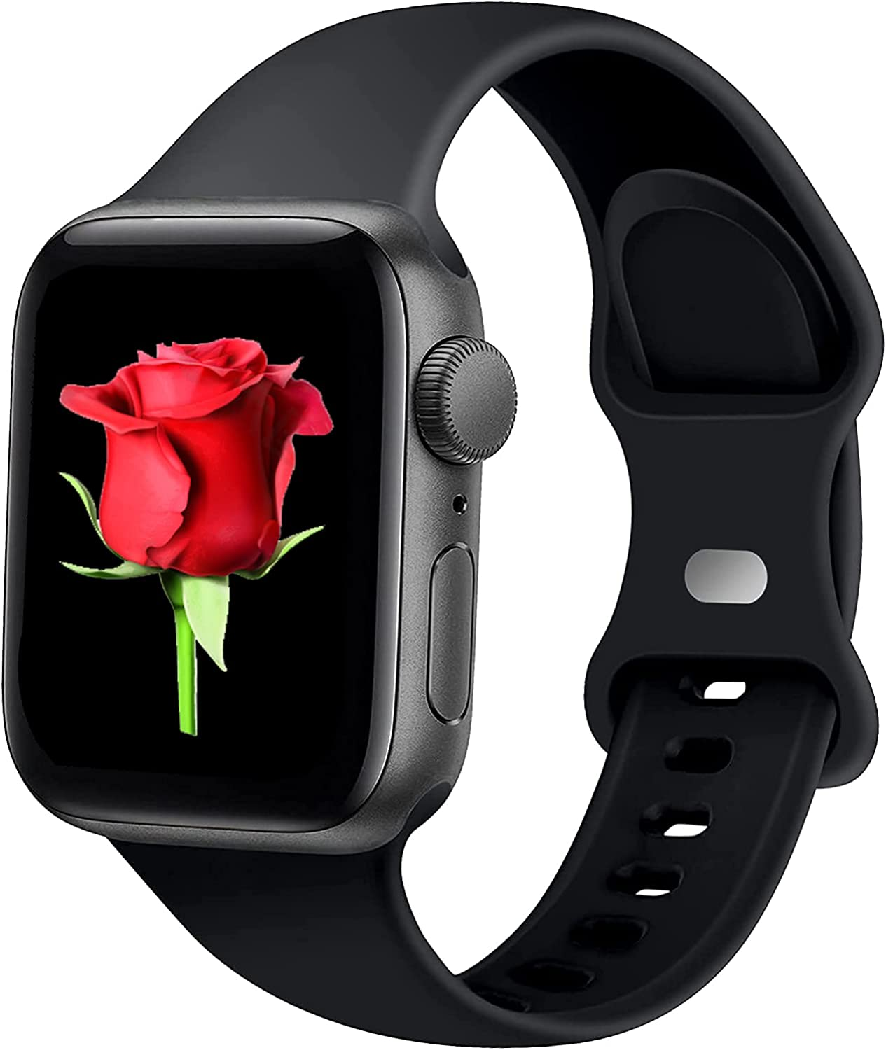 Fibuntun Bands Compatible with Apple Watch 42mm 44mm, Replacement Soft Silicone Sport Strap for iWatch SE Series 6/5/4/3/2/1 Women Men - (Black/42/S/M)