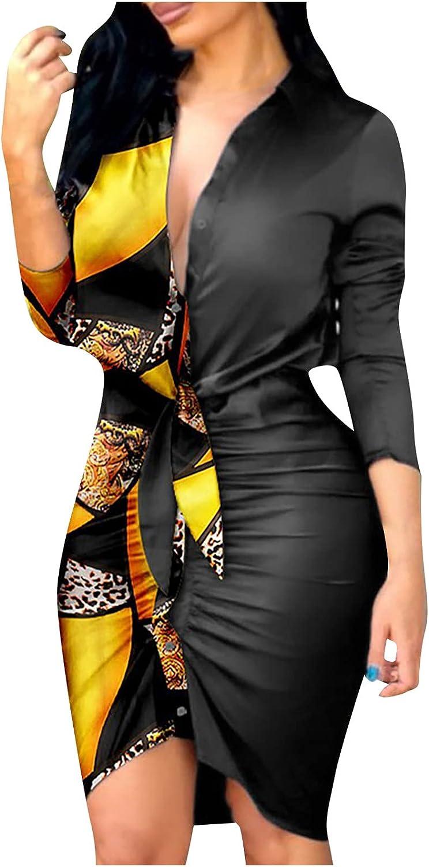 2021 Fashion Dress for Women Vintage Professional Dress Plus Size V-Neck Long Sleeve Bandage Slim Shirt Dress
