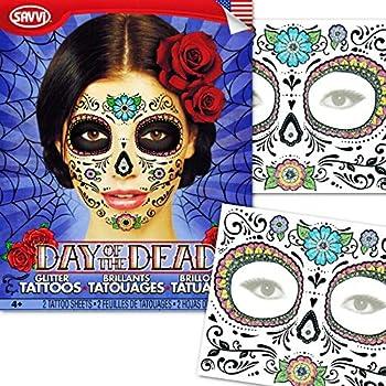 Day of the Dead Temporary Tattoos Costume Kit  Set of 2 Sugar Skull Tattoos Flower Design