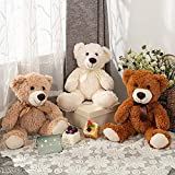 MorisMos 3 Packs Teddy Bear Stuffed Animals Plush - 13.5 Inches Height Cute Plush Toys in 3 Color Light Brown,Dark Brown,White Teddy Bears - 3 Pcs Little Bear Stuffed Animals