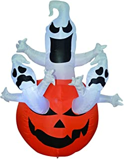 GOOSH 6FT High Halloween Inflatables Blow Up Three Ghosts on The Pumpkin for Halloween Outdoor Decorations (6 Ft Tall